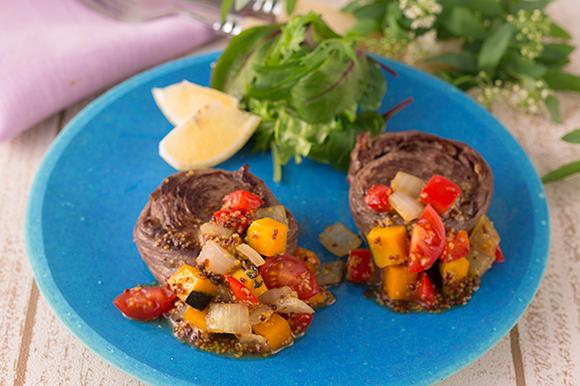 牛肉のロール焼き ゴロゴロ野菜のハニーマスタードソース
