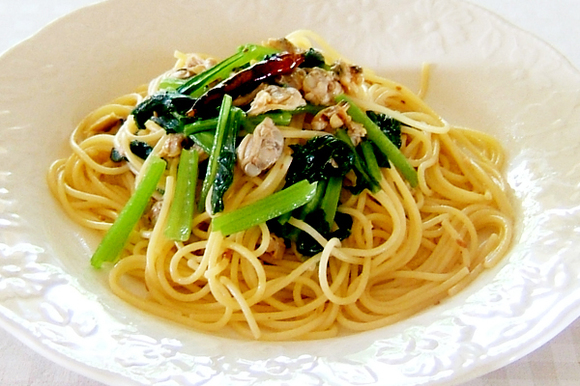 小松菜とあさりの和風ペペロンチーノ