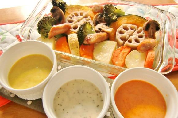 焼き野菜と3種のスパイスクリームソース