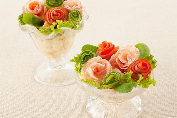 バラの花束のポテトサラダ