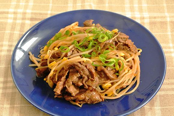 牛肉と豆もやしの中華風炒め
