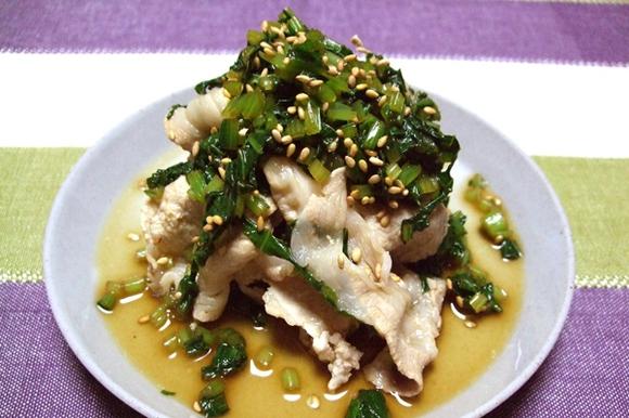 豚しゃぶの小松菜ソースがけ~ごま油の風味~