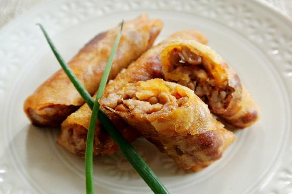 納豆とキムチのミニ春巻き