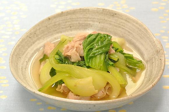 青梗菜と豚肉の白だし煮