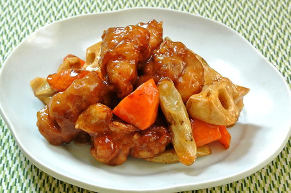 鶏肉と根菜の黒酢あん