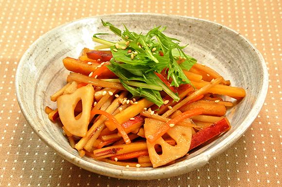 冬野菜の彩りきんぴら