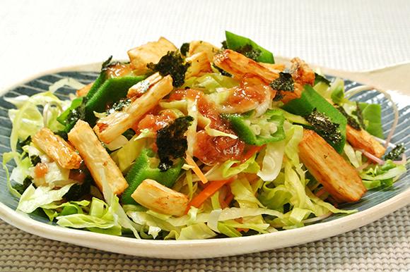 揚げ長芋とオクラのサラダ